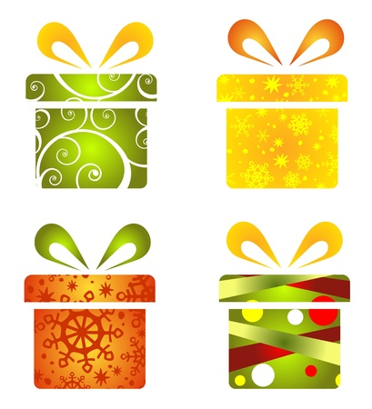 Christmas gift boxes set isolated on a winter background  Vector