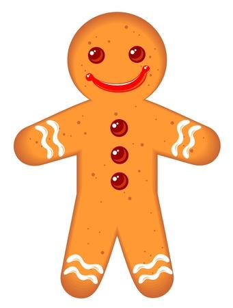 galleta de jengibre: Hombre de pan de jengibre aislado en un fondo blanco