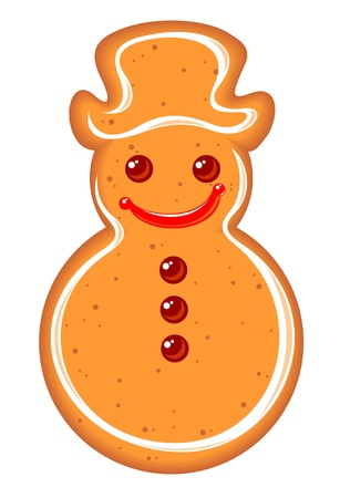 Gingerbread snowman isolated on a white background