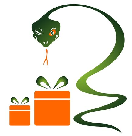 Cartoon snake and gifts isolated on a white background