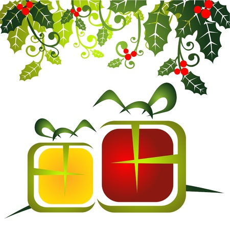 Stylized Christmas  gift boxes with Holly Berry leaves   Vector