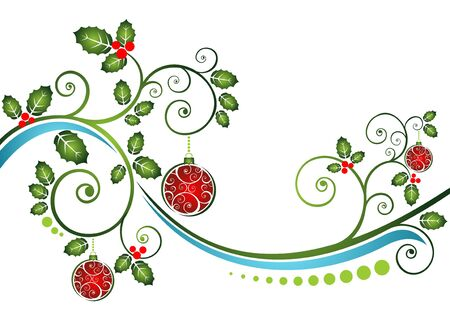 year curve: Stylized pattern with Christmas balls and curves   Illustration