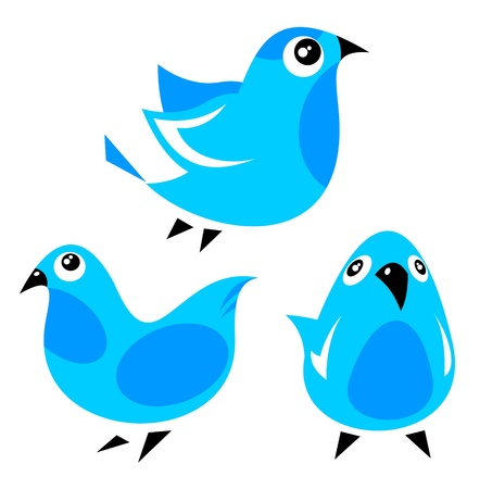 Blue cartoon birds set isolated on a white background  Vector