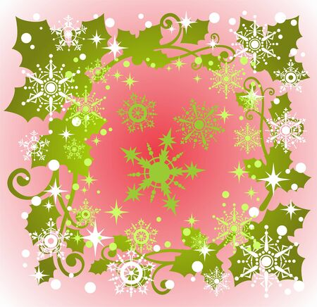 holly berry: Stylized pattern with snowflakes and Holly Berry