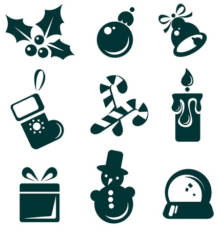 Christmas symbols set isolated on a white background  Vector