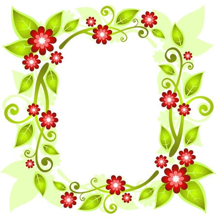 Green floral border on a white background  Vector