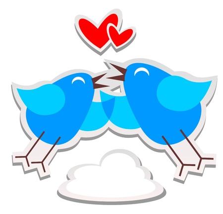 Blue happy cartoon birds on a white background  Vector