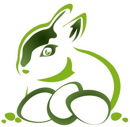 lapin silhouette: Lapin de Pâques avec des oeufs sur un fond blanc Illustration