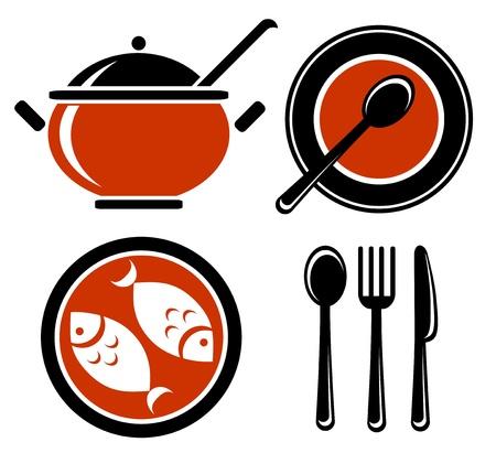 Stylized food symbols set isolated on a white background  Vector