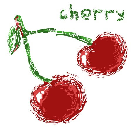 drawings image: Stylized cherry isolated on a white background  Stock Photo