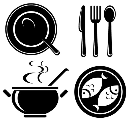 Stylized food icons set isolated on a white background  Vector