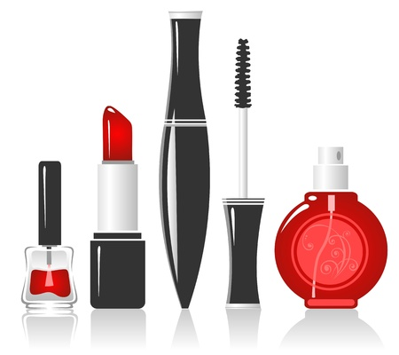 make up applying: Cosmetics  isolated on a white background