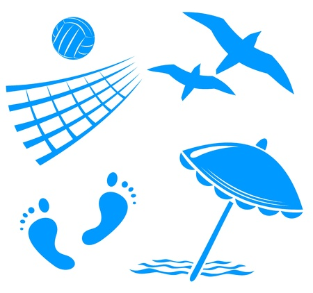 volleyball net: Blue summer symbols set isolated on a white background. Illustration