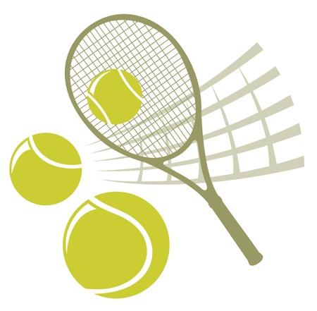 Raqueta de tenis con bolas aislados en un fondo blanco.
