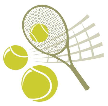 Tennis racket with balls isolated on a white background. Vector