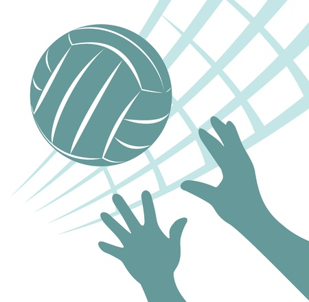 Volleybalnet met bal en handen op een witte achtergrond.