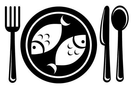 pescado frito: Pescado frito estilizada y vajilla aisladas sobre un fondo blanco