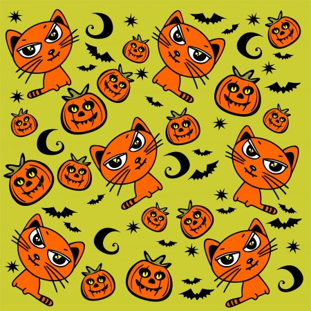 amused: Halloween cats and pumpkins on a green background