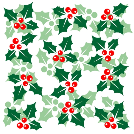 holly leaves: Stylized pattern with Holly Berry  Christmas illustration  Illustration