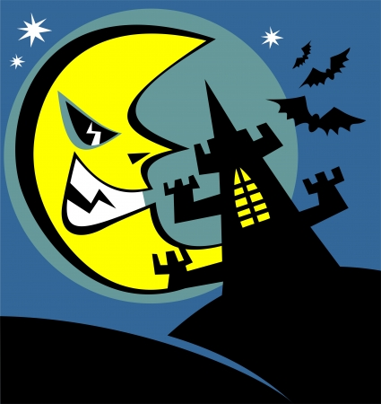 frighten: Black castle silhouette with angry moon  Halloween illustration