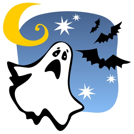 specter: Halloween ghost silhouette with moon and bats