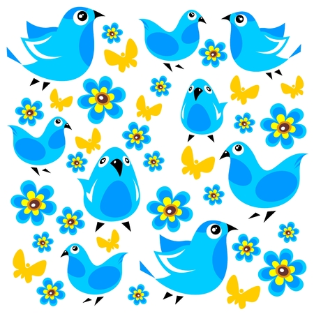 amuse: Blue birds and butterflies on a white background  Illustration