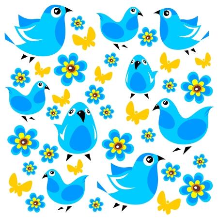 mariposas amarillas: Pájaros azules y mariposas sobre un fondo blanco