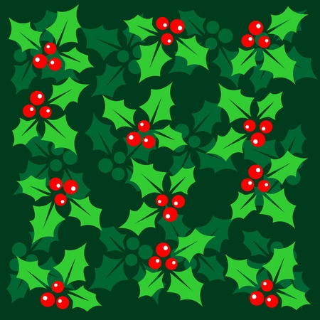 holly berry: Stylized pattern with Holly Berry on a green background