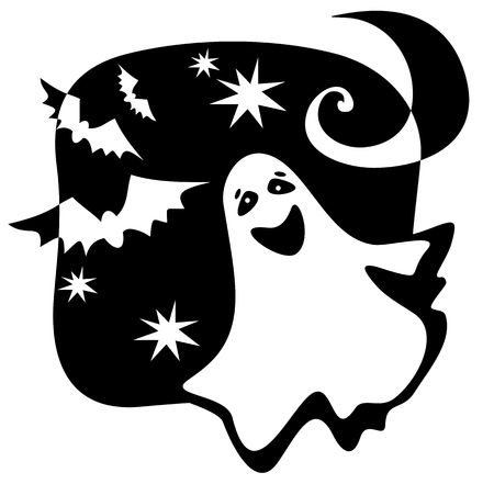 wraith: Halloween ghost silhouette with moon and bats