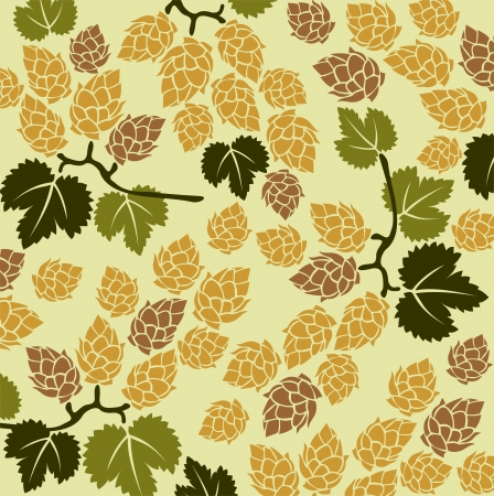 hop plant: Stylized hop and leaves on a yellow background