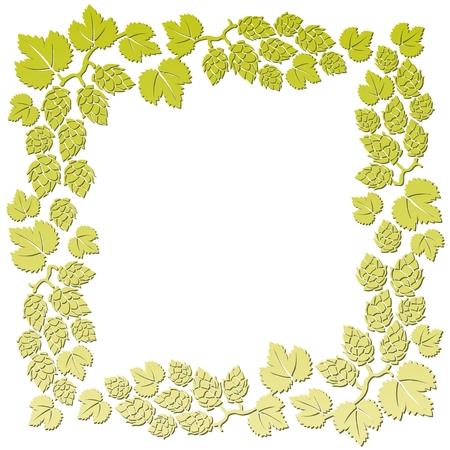 hop plant: Stylized hop pattern on a yellow background