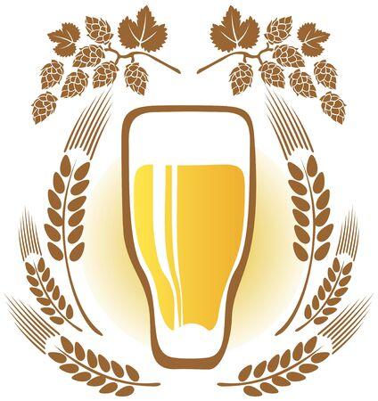 cerveza negra: Oídos de vidrio de cerveza y trigo sobre un fondo blanco Vectores