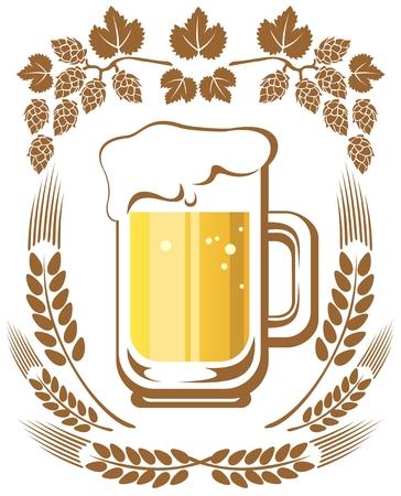 Beer mug and hop on a white background  Illustration