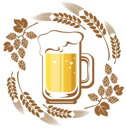 Beer and hop isolated on a white background  Vector