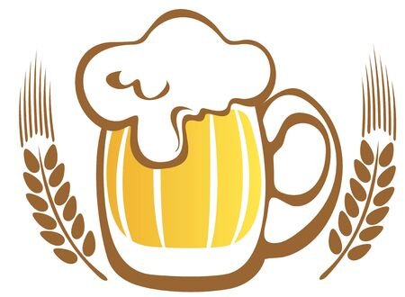 Beer mug and wheat ears isolated on a white background  Vector