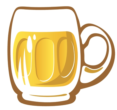 Stylized beer glass isolated on a white background  Vector