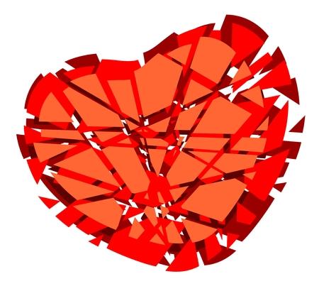 fragmentation: Stylized broken heart isolated on a white background