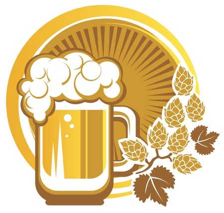 Beer mug and hops on a white background  Vector