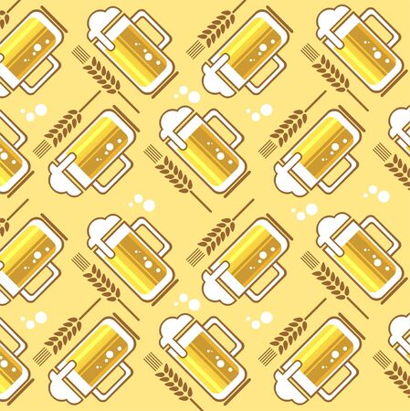 Stylized beer mugs and wheat ears pattern on a yellow background  Vector