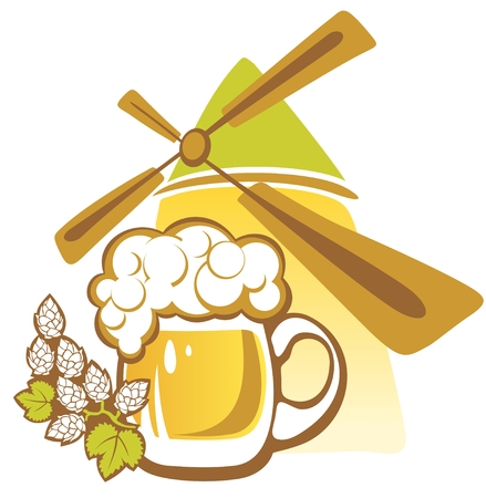 Beer and windmill isolated on a white background  Vector