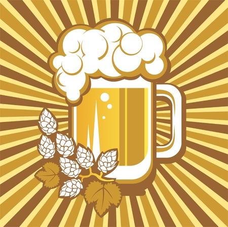 cerveza negra: Taza de cerveza y l�pulo en un fondo rayado