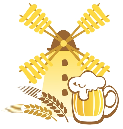 grind: Beer mug and windmill isolated on a white background  Illustration