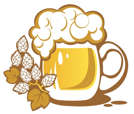 Beer mug and hops isolated on a white background Vector Illustration