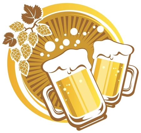 cerveza negra: Dos jarras de cerveza en un fondo rayado
