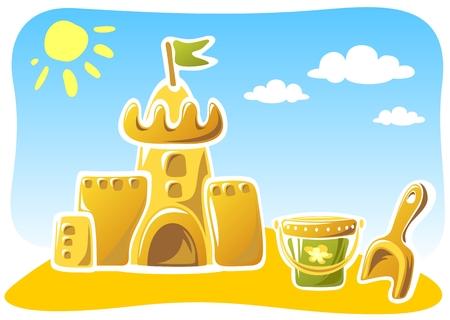 children s: Cartoon sand castle with children