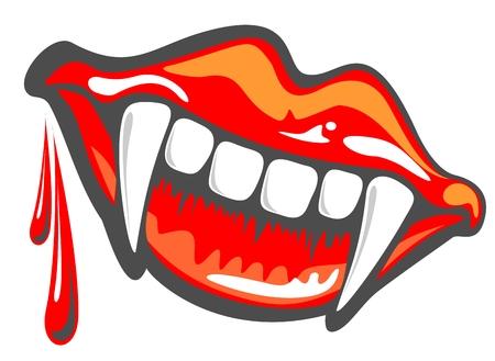 Cartoon vampire sourire avec des crocs, illustrations Halloween