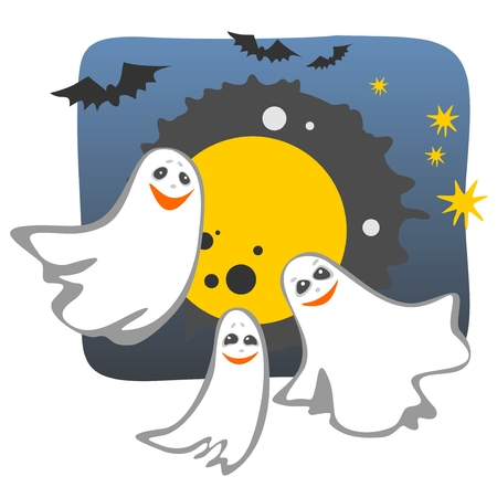 wraith: Halloween ghost silhouettes with moon and bats. Illustration