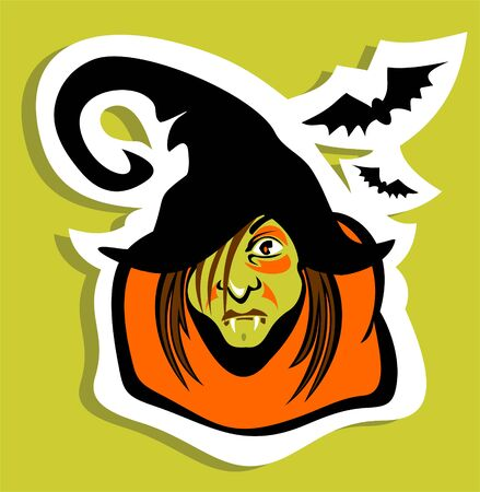 frighten: Halloween witch face and bats on a blue background. Illustration
