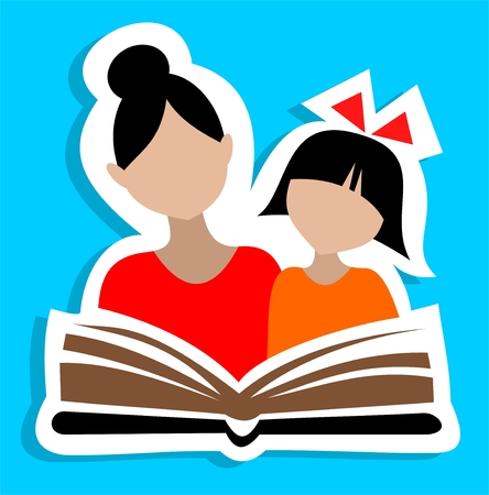 Girl and woman silhouettes reading the book. Vector