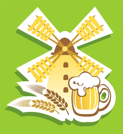 Beer mug and windmill on a green background. Vector